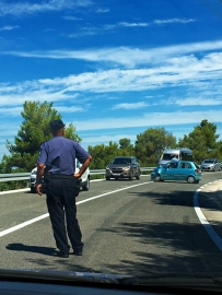 wypadek na trasie i przymusowy postój